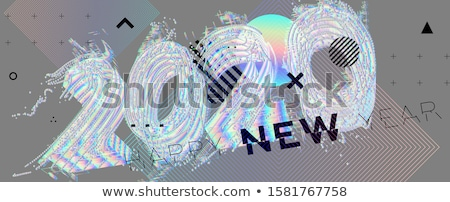 minimal 2020 line style new year typography design  Stock photo © SArts