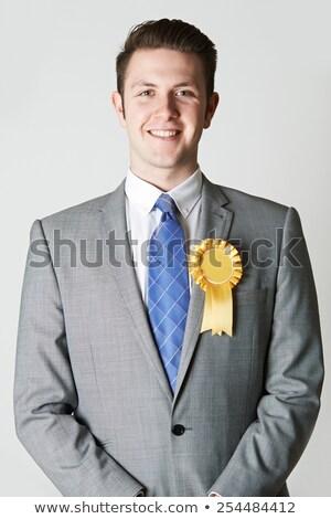 Portret politicus Geel vergadering pak Stockfoto © HighwayStarz