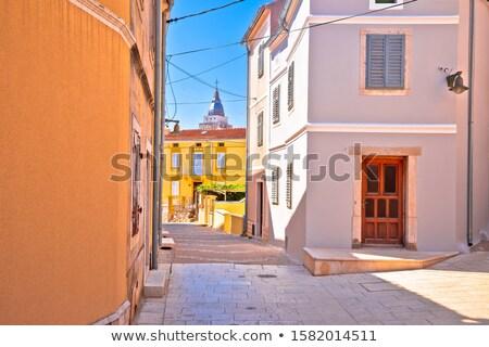 Krk. Town of Omisalj old mediterranean stone street view Stock photo © xbrchx