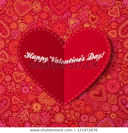 Valentines day card with handmade hearts Stock photo © karandaev
