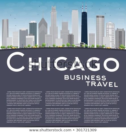 Chicago városkép szürke felhőkarcolók kék ég másolat Stock fotó © ShustrikS