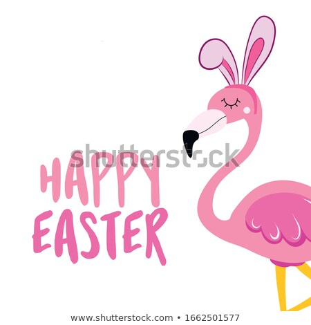 Happy Easter text with beautiful pink flamingo  Stock photo © Zsuskaa