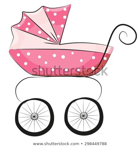 Roze kinderwagen geïsoleerd witte vector baby Stockfoto © Arkadivna