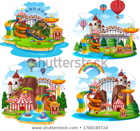 Themepark scene with many rides and waterslides Stock photo © bluering