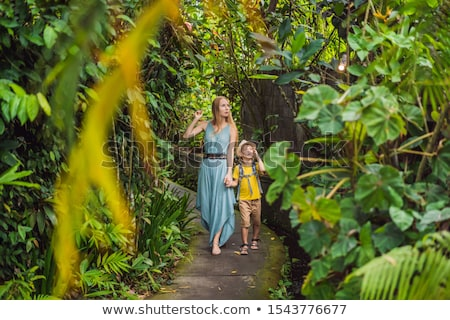Mother and son tourists in Bali walks along the narrow cozy streets of Ubud. Bali is a popular touri Stock photo © galitskaya