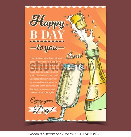 Szczęśliwy szampana gratulacja plakat wektora etykiety Zdjęcia stock © pikepicture