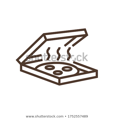 Pizza-Box Symbol Vektor Gliederung Illustration Zeichen Stock foto © pikepicture