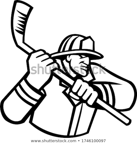 Fireman Playing Ice Hockey Sport Mascot Black and White Stock photo © patrimonio