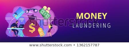 Financiële banner hacker laptop bedrog Stockfoto © RAStudio