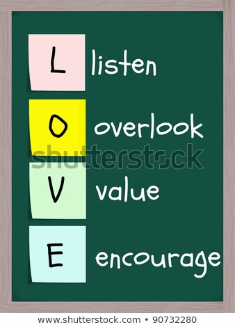 LOVE acronym, listen, overlook, value, encourage on a blackboard Stock photo © bbbar