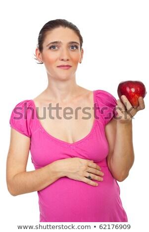 Foto d'archivio: Ritratto · donna · sorridente · mela · rossa · isolato · bianco