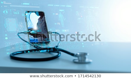 stéthoscope · noir · clavier · bleu · modernes · clavier · d'ordinateur · portable - photo stock © wisiel