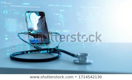 ストックフォト: インターネット · 医師 · 聴診器 · キーボード · ビッグ