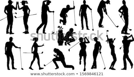 golf · siluetas · arte · club · diversión · sombrero - foto stock © kaludov