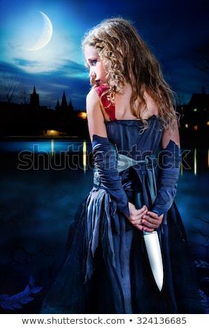 ストックフォト: 暗い · 悪魔 · 少女 · ナイフ · 赤 · 黒