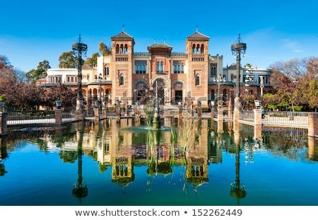 アンダルシア スペイン 公園 水 建物 日没 ストックフォト © neirfy
