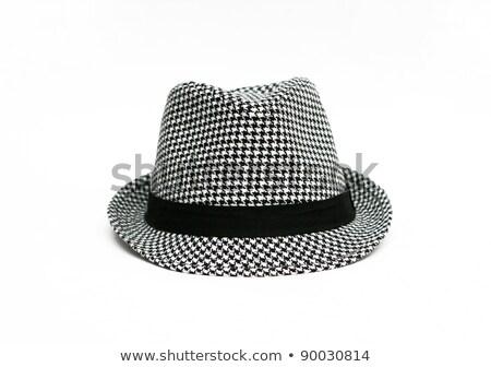 Siyah fötr şapka kadın şapka yalıtılmış beyaz Stok fotoğraf © RuslanOmega
