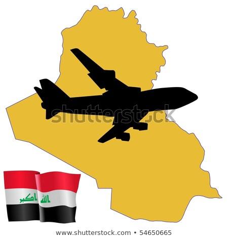 Vliegen me Irak kaart vliegtuig land Stockfoto © perysty