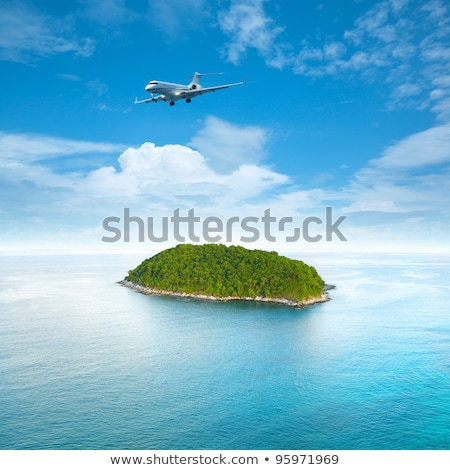 Сток-фото: Jet Aircraft Over The Tropical Island Square Composition