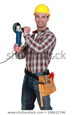 cheerful manual worker holding angle grinder stock photo © photography33
