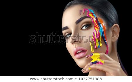 художественный · красоту · женщину · окрашенный · лице · тело - Сток-фото © gromovataya
