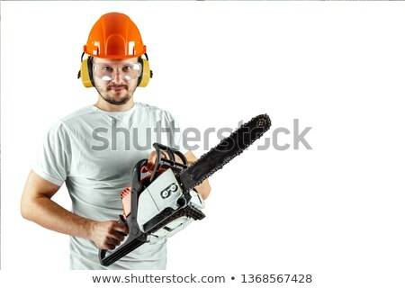 Timmerman kettingzaag man portret elektriciteit Stockfoto © photography33