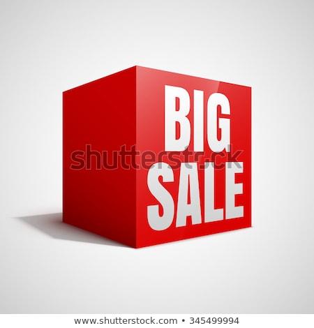 Nagy vásár piros fehér kocka 3D Stock fotó © marinini