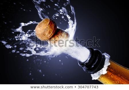 explosão · verde · champanhe · garrafa · cortiça · cair - foto stock © lightsource