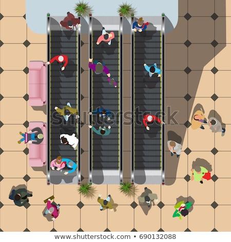 Haut vue floue personne escalator métro Photo stock © kyolshin