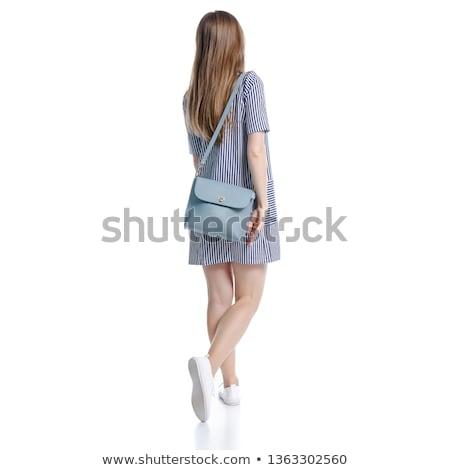 подростку · ходьбе · далеко · Постоянный · изолированный · белый - Сток-фото © feedough