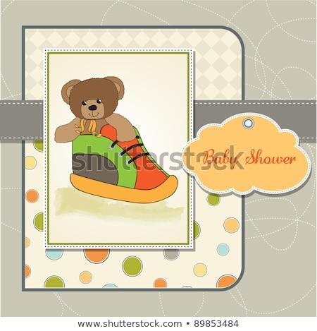Stok fotoğraf: Baby Shower Card With Teddy Bear Hidden In A Shoe