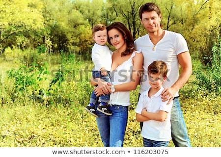 幸せな家族 4 屋外 公園 家族 笑顔 ストックフォト © travnikovstudio
