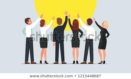 affaires · pointant · portrait · homme · professionnels · souriant - photo stock © stockyimages