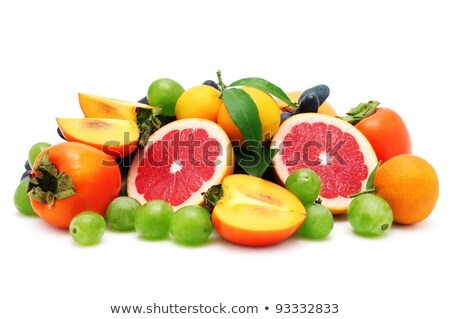Ripe Persimmon Fruits On White Background Stockfoto © Serg64