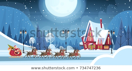 Christmas concept greeting card with Santa Claus and reindeer ch Stock photo © Thodoris_Tibilis