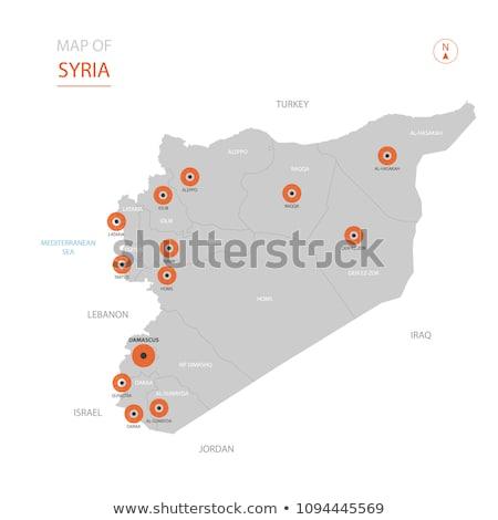 Grijs Syrië kaart administratief asian land Stockfoto © Volina