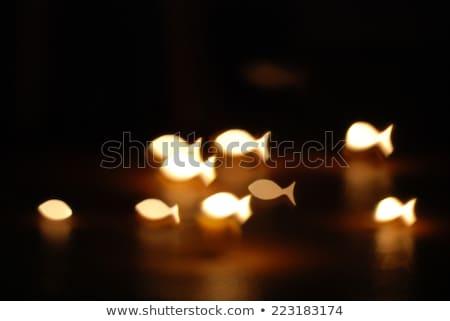 Kaars vis kaarsen donkere houten godsdienst Stockfoto © MKucova
