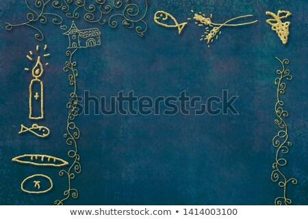 Pierwsza komunia potwierdzenie niebieski chłopca przypomnienie kwiaty Zdjęcia stock © marimorena