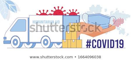 Aide main camion slogan blanche Photo stock © tashatuvango