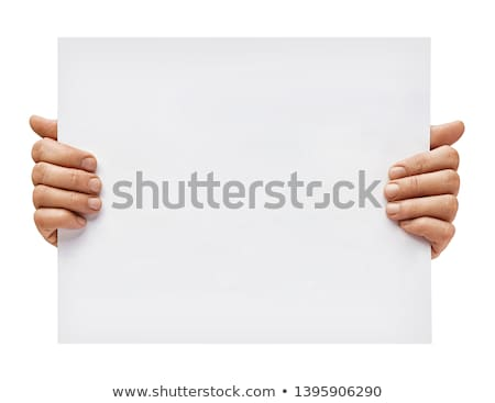 man holding white banner stock photo © stevanovicigor