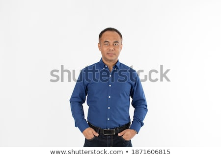 handsome middle age man studio portrait on a white background stock photo © meinzahn