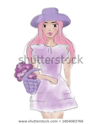cômico · desenho · animado · mulher · bonita · retro · estilo - foto stock © zebra-finch