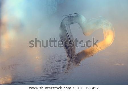 Szív rajzolt fagyos ablak üveg fedett Stock fotó © kasto