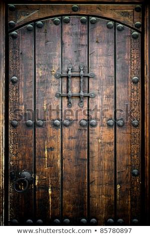 öreg · fából · készült · ajtó · fém · fogantyú · fa - stock fotó © julietphotography