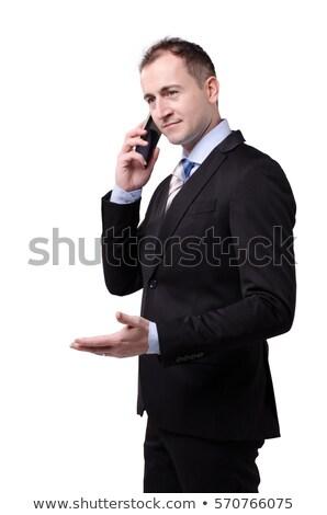 ビジネスマン · 携帯電話 · 見える · カメラ · 深刻 - ストックフォト © deandrobot