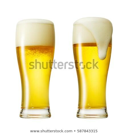 Tele üveg világos sör izolált fehér háttér Stock fotó © OleksandrO
