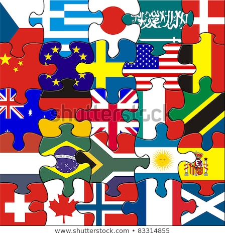 Stock photo: Argentina and South Africa Flags in puzzle