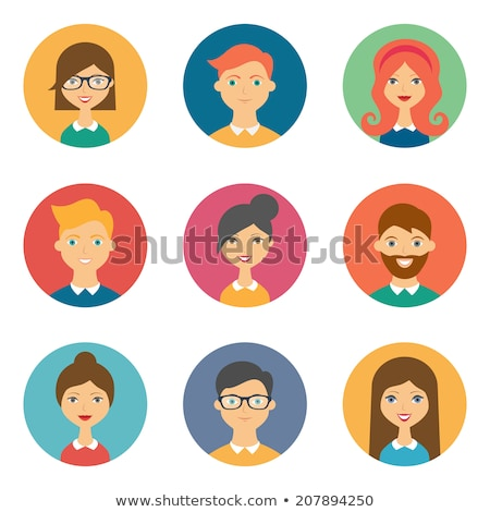 flat women characters circle icons set stock photo © anna_leni