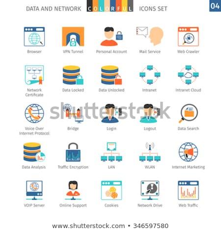 Hálózatok ikon gyűjtemény adat felhő sütik LAN Stock fotó © Genestro