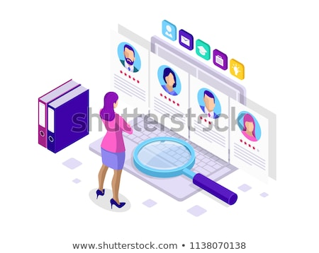 Employee search flat isometric vector concept. Stock photo © TarikVision